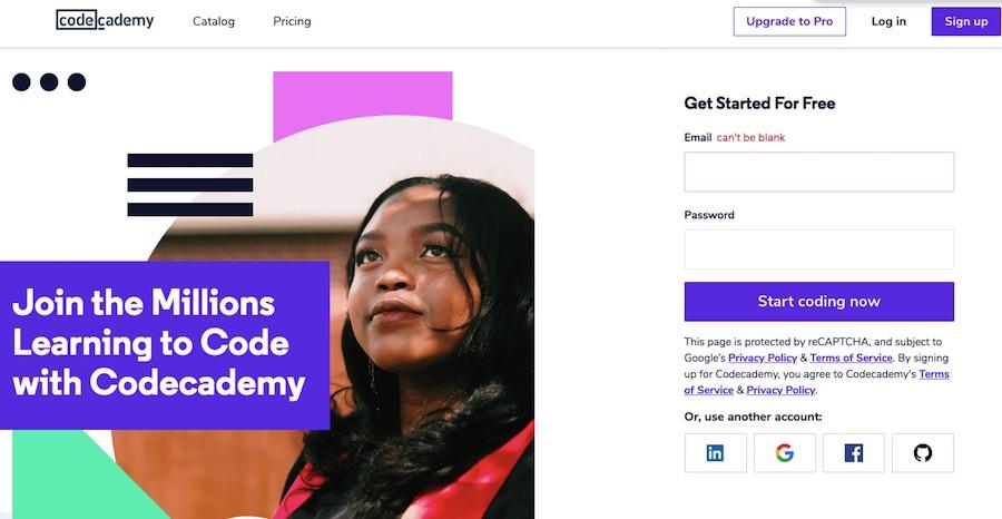 Codeacademy - website dạy học lập trình phổ biến