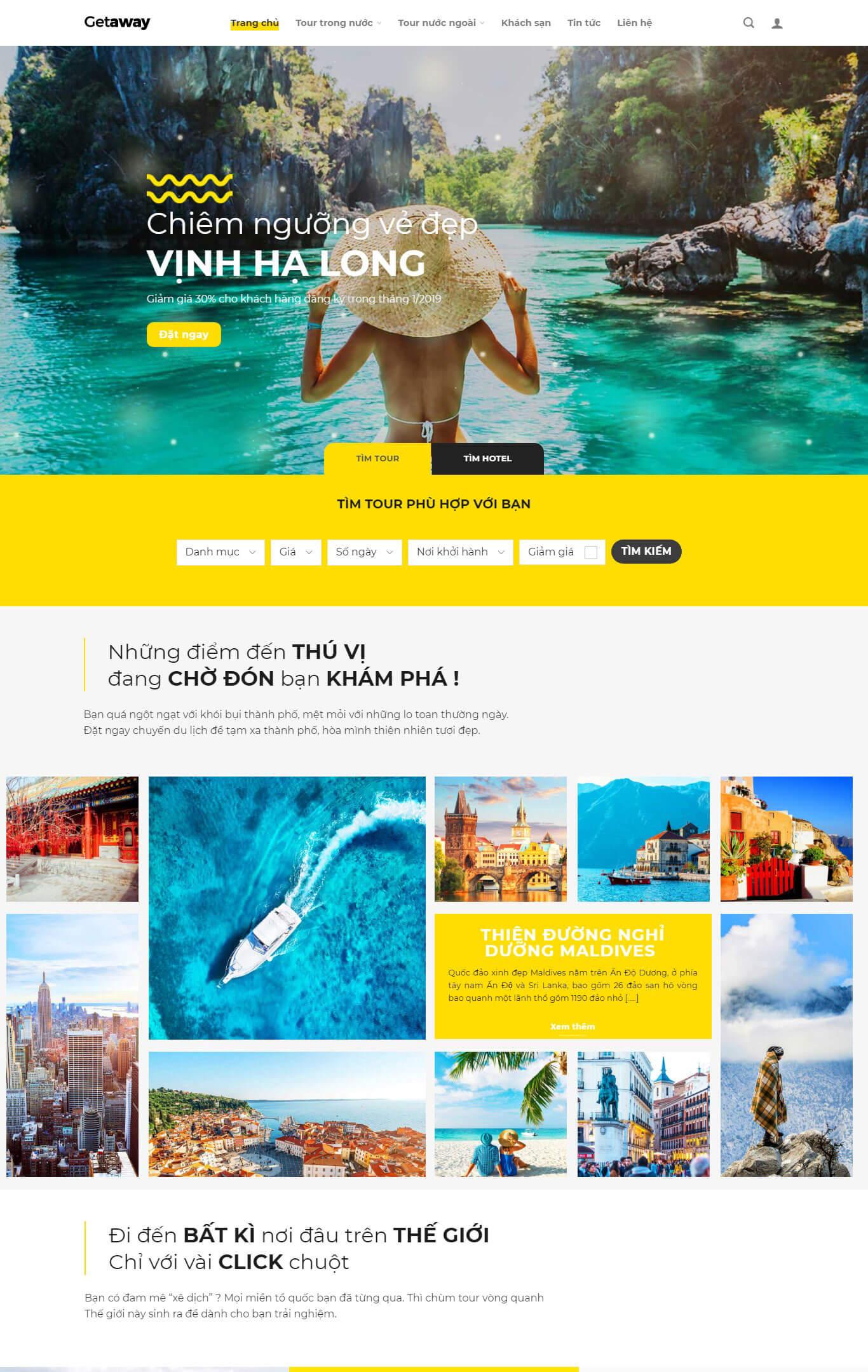 Trang chủ của website du lịch