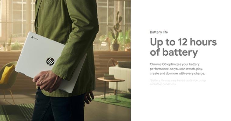 Thời lượng pin không cao nhưng phù hợp với các thiết bị Chromebook