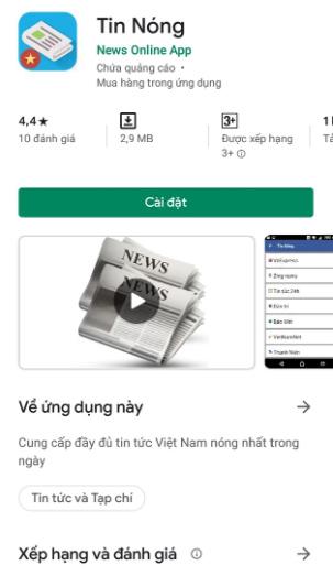 ứng dụng đọc báo Tin Nóng