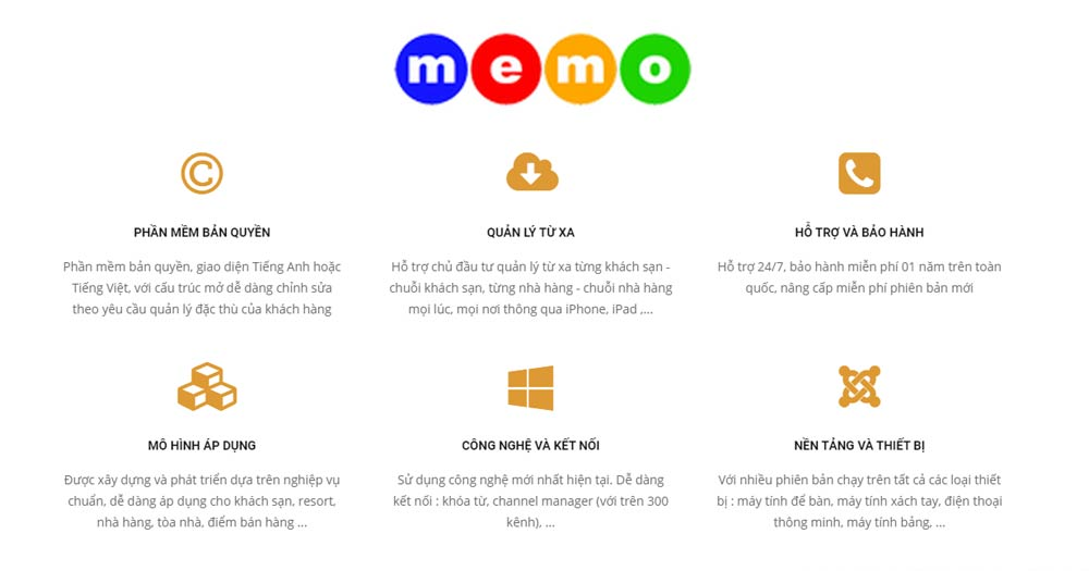 Phần mềm quản lý khách sạn nhà hàng memo