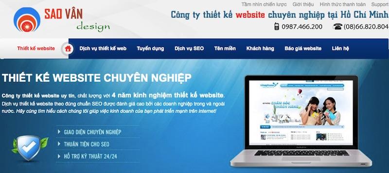 Thiết kế website Sao Vân