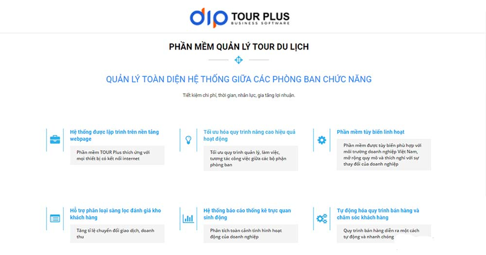 Phần mềm quản lý du lịch Tour Plus