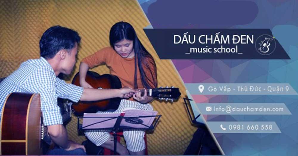 Dấu Chấm Đen Music School- Khóa dạy học đàn guitar, organ, piano