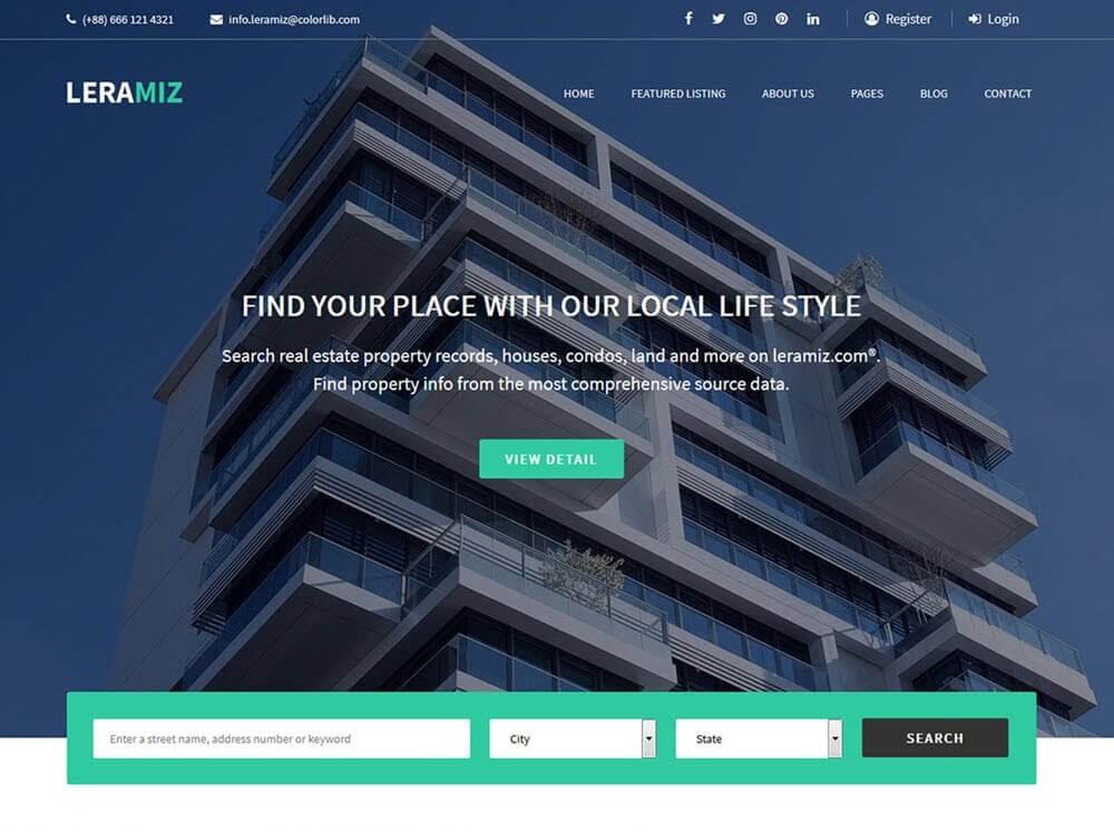 Theme wordpress bất động sản Leramiz