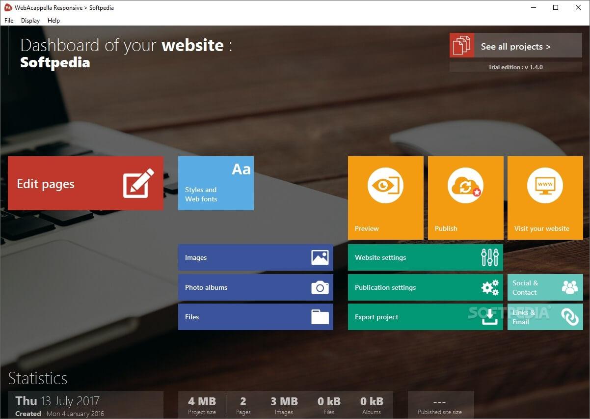 Phần mềm thiết kế giao diện website WebAcappella
