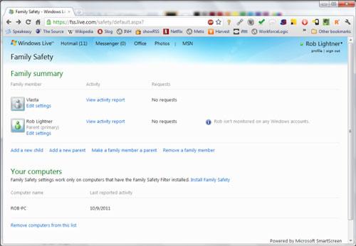Phần mềm quản lý sử dụng internet Window Live Family Safety
