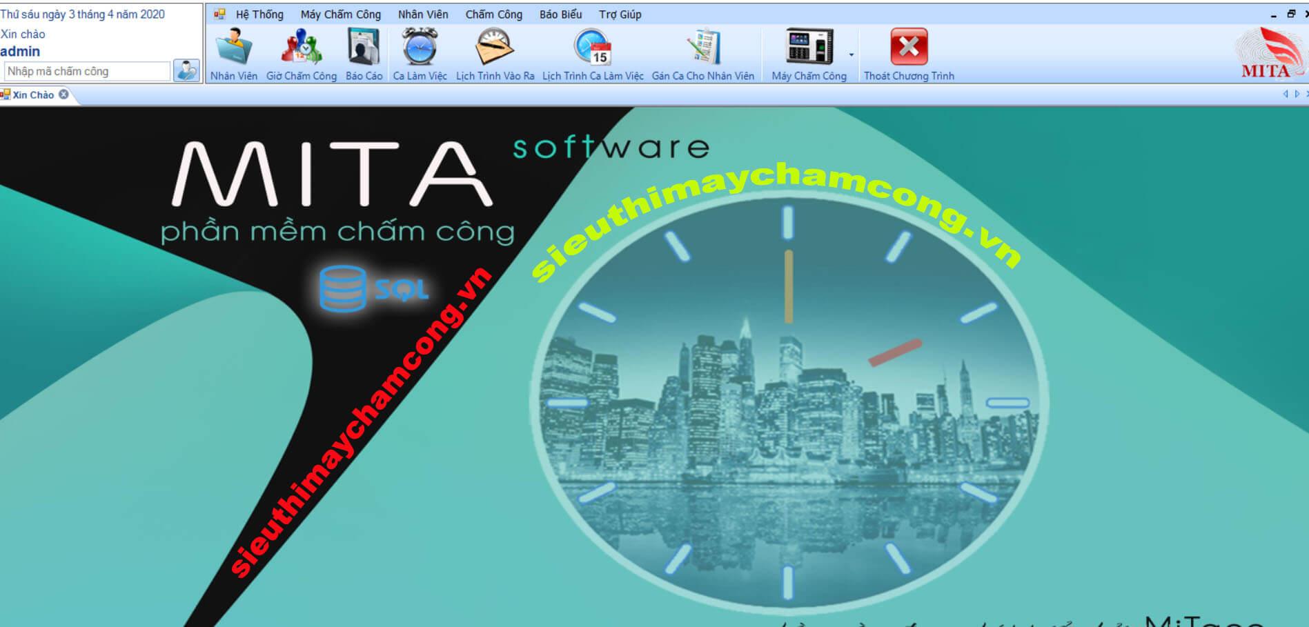 Giao diện phần mềm chấm công Mita Pro